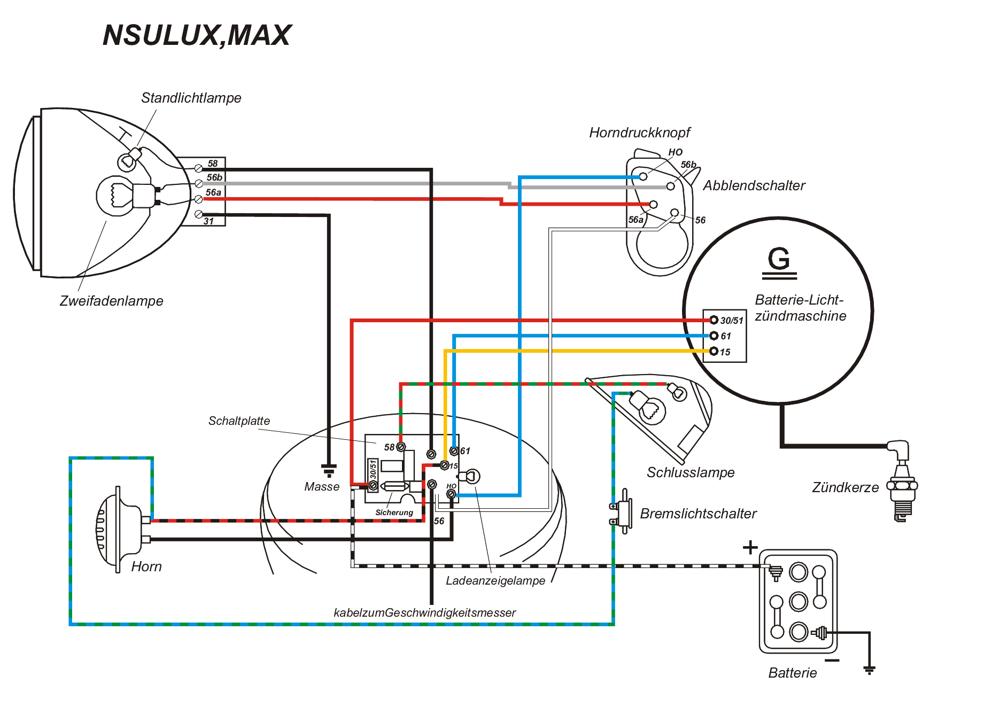kabelbaum f r nsu max supermax standard lux mit farbigen schaltplan ebay. Black Bedroom Furniture Sets. Home Design Ideas