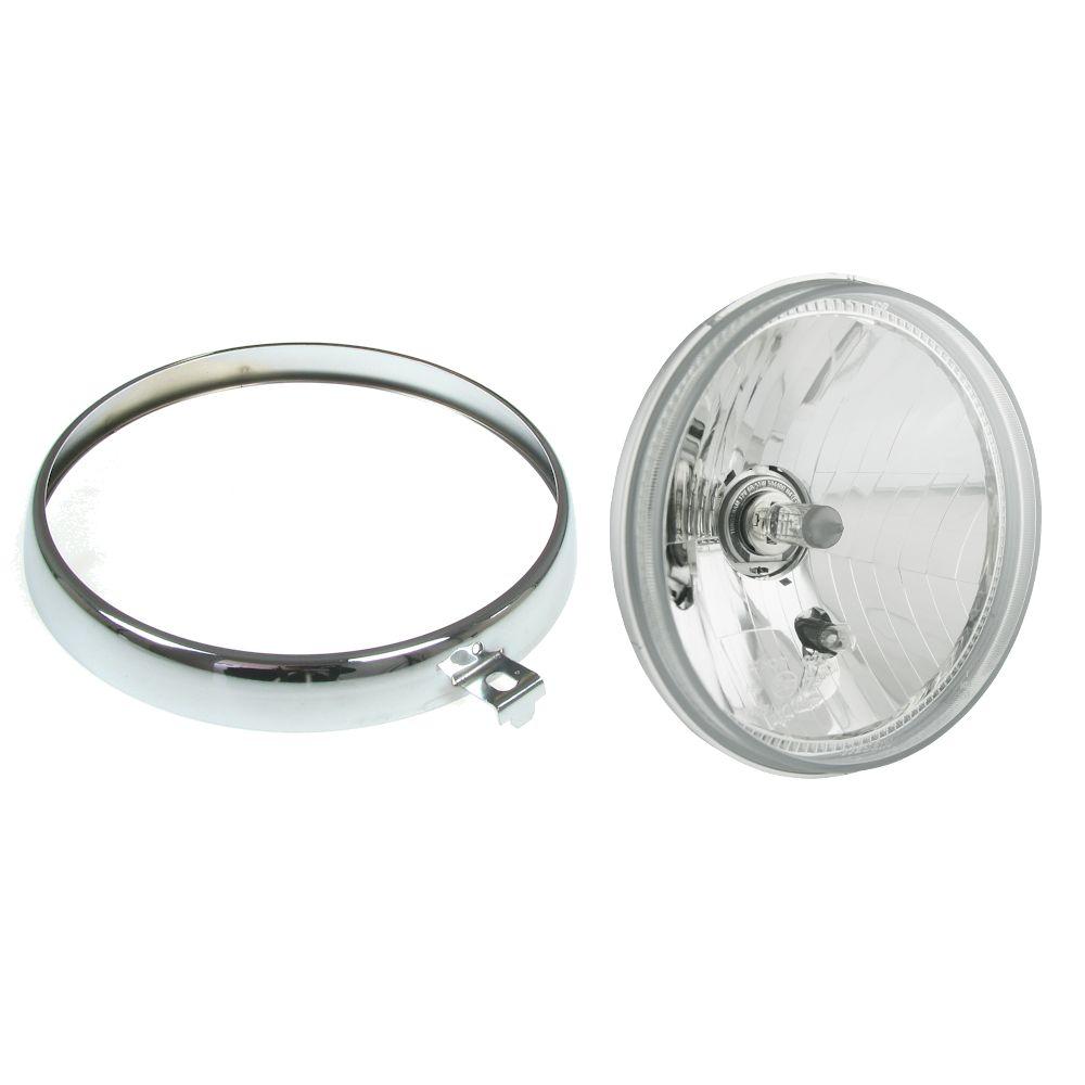 Scheinwerfer mit E Pruefzeichen TUV H4 flaches Glas fur MZ ETZ TS 125 150 250