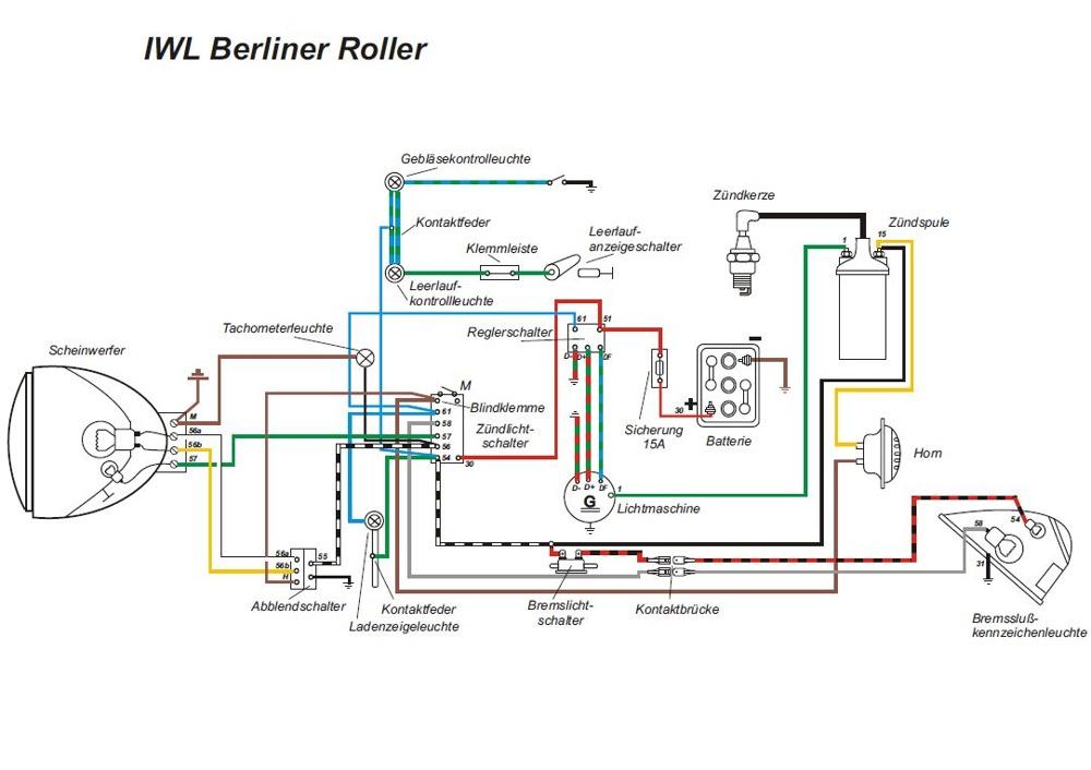 Kabelbaum für IWL Berlin Roller, Wiesel (mit farbigen Schaltplan) | eBay