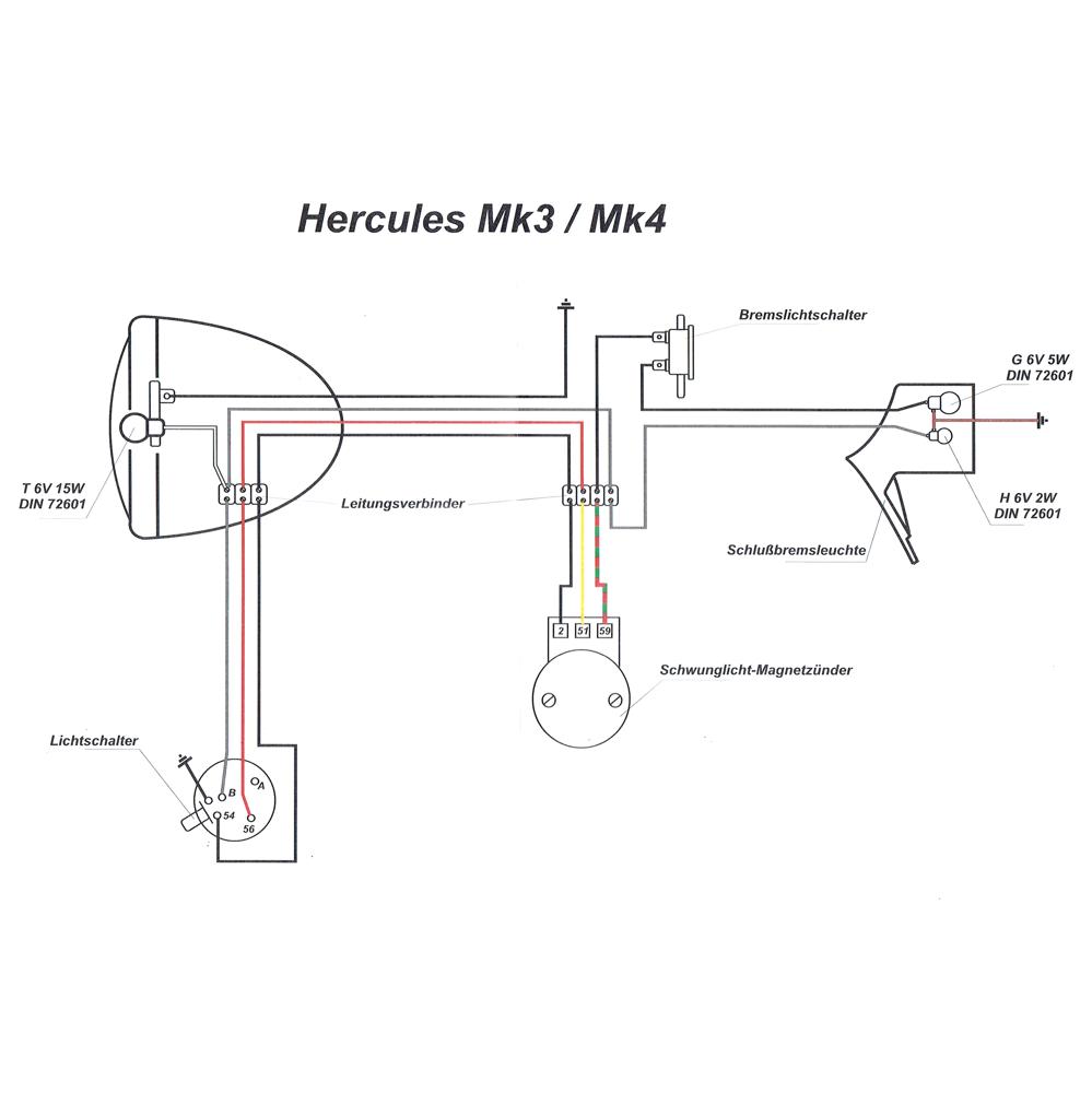 Kabelbaum für Hercules Mk3 Mk4 mit farbigen Schaltplan - 19,90 €
