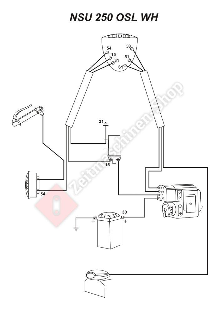 Kabelbaum für NSU OSL 250 WH (mit Schaltplan) - 29,90 €