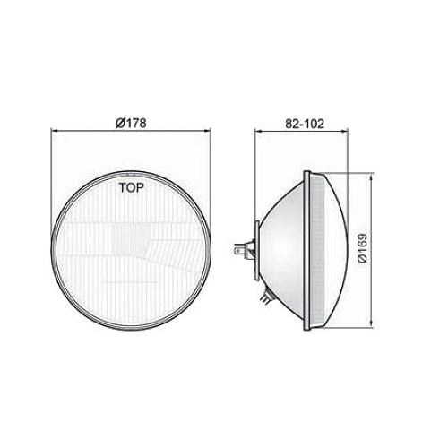Scheinwerfer H4 E-Prüfzeichen gewölbtes Glas passend für Jawa 350 ...